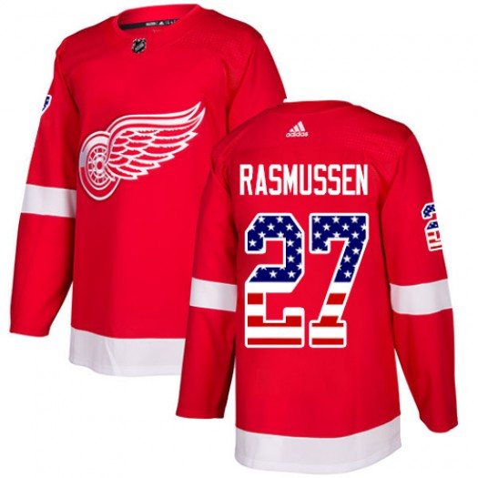 Michael Rasmussen Detroit Red Wings Men's Adidas Authentic Red USA Flag Fashion Jersey