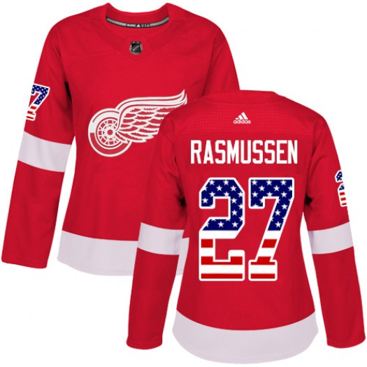 Michael Rasmussen Detroit Red Wings Women's Adidas Authentic Red USA Flag Fashion Jersey