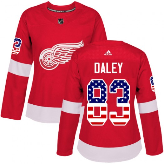 Trevor Daley Detroit Red Wings Women's Adidas Authentic Red USA Flag Fashion Jersey