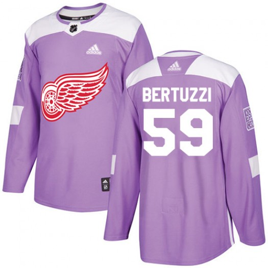 Tyler Bertuzzi Detroit Red Wings Youth Adidas Authentic Purple Fights Cancer Practice Jersey